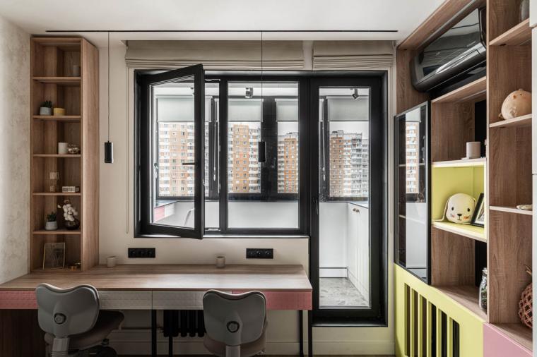 Детская с балконной дверью черного цвета – стильно и со вкусом - 2082399544
